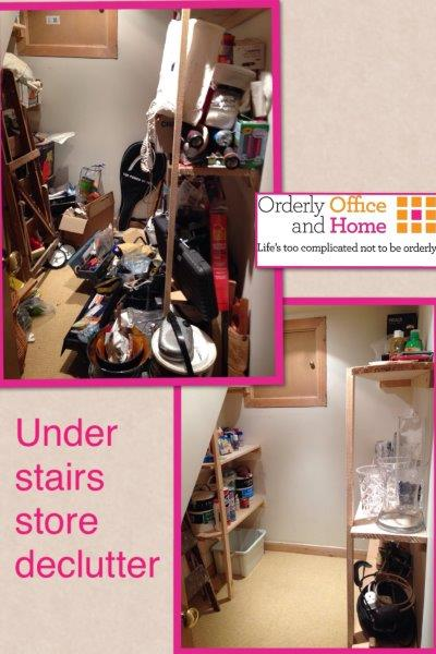 Under stairs store declutter