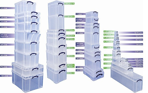 Clear plastic storage containers