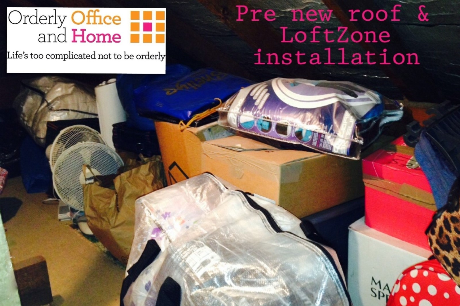 Loft space prior to declutter & organising