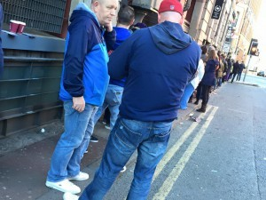 Queueing for entry to Piccadilly Records, Manchester