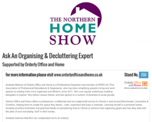 Ask a Decluttering & Organising Expert - Northern Home Show 2014
