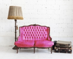 pink sofa in white room