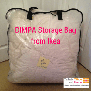 Orderly Office and Home storing duvets with DIMPA storage bag